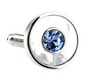 Blue Crystal in a Mother of Pearl Circle Cufflinks (V-CF-C61622BL)