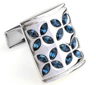 Blue Faceted Swarovski® Crystal Flower Cufflinks (V-CF-C805BL)