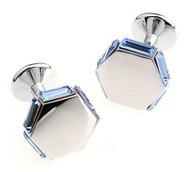 Blue Hexagon Swarovski® Crystal Cufflinks (V-CF-C630BL-S)