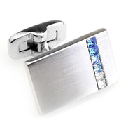 Brushed Silver with Blue Faceted Swarovski® Crystal Cufflinks (V-CF-C707BL)