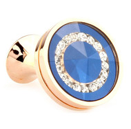 Glass Encased Swarovski® Crystals on Blue Rose Gold Cufflinks (V-CF-C609BL-RG)