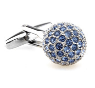 Light Blue Swarovski® Crystal Encrusted Small Ball Cufflinks (V-CF-C624LBL)