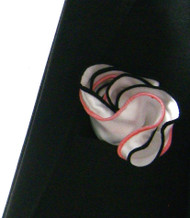 Antonio Ricci Double Color Pouf Pocket Square - Pink & Black on White
