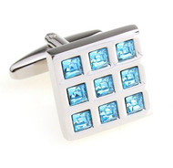 Light Blue Swarovski® Crystals in Square Cufflinks (V-CF-C55755BL-S)