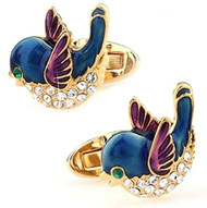 Little Blue Birdies with Swarovski® Crystals Cufflinks (V-CF-C720BL-G)