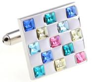 Multi-Colored Square Swarovski® Crystal Cufflinks (V-CF-C56298)