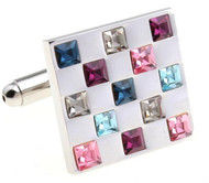 Multi-Colored Square Swarovski® Crystal Cufflinks (V-CF-C56300)