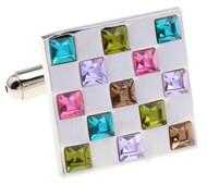 Multi-Colored Square Swarovski® Crystal Cufflinks (V-CF-C56301)