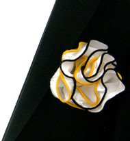Antonio Ricci Double Color Pouf Pocket Square - Gold & Black on White