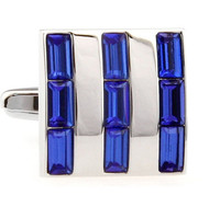 Royal Blue Baguette Crystal Square Cufflinks (V-CF-50350BL)