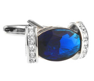 Royal Blue Oval & Diamond Crystal Cufflinks (V-CF-C8069BL)