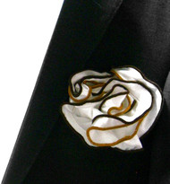Antonio Ricci Double Color Pouf Pocket Square - Brown & Black on White