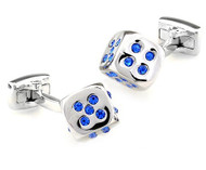 Small Silver Dice with Blue Swarovski® Crystals Cufflinks (V-CF-C508BL)