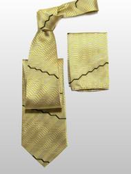 Antonio Ricci 100% Silk Woven Tie - Gold Zig-Zags