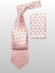 Antonio Ricci 100% Silk Woven Tie - Peach Weave Pattern