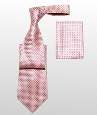 Antonio Ricci 100% Silk Woven Tie - Pink Basketweave Design