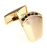 Black Crystal Crest Gold Cufflinks (V-CF-C430B-G)