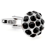 Black Crystal Dome Cufflinks (V-CF-C60192B)