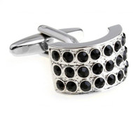 Circular Black Swarovski® Crystal Cufflinks (V-CF-C625B)