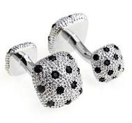Double-Sided Knob Black Swarovski® Crystal Cufflinks (V-CF-V00001B)