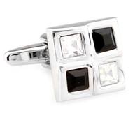 Four Square Black & Diamond Crystals Cufflinks (V-CF-C61385BW-S)