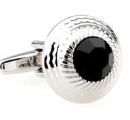 Round Center Black Crystal Cufflinks (V-CF-60058B-S)