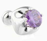 Big Purple Round Cut Swarovski® Crystal Cufflinks (V-CF-C40346PR-S)