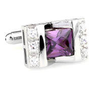 Large Princess Cut Purple-Colored Crystal Cufflinks (V-CF-C64308PR-S)