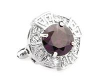 Oversized Deep Purple Faceted Crystal Cufflinks (V-CF-C64110DDPR)