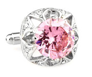 Large Round Pink Crystal Silver Cufflinks (V-CF-C63948P-S)