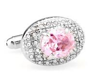 Oval Pink Swarovski® Crystal Cufflinks (V-CF-C64205P-S)