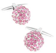Pink Swarovski® Crystal Encrusted Small Ball Cufflinks (V-CF-C624P)