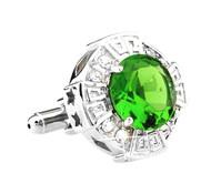 Oversized Emerald Green Faceted Crystal Cufflinks (V-CF-C64110G)