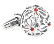 Domed Flowers with Small Red Crystals Cufflinks (V-CF-C61599R)
