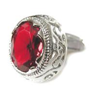 Large Red Swarovski® Crystal Oval Cufflinks (V-CF-81000R-S)