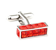 Red Long Cube with Square Crystals Cufflinks (V-CF-C7708R)