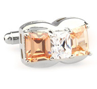 Large Double Melon Crystals with Diamond Center Crystal Silver Cufflinks (V-CF-67276O)