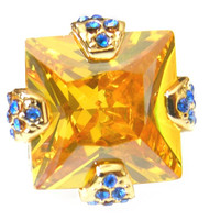 Large Golden Swarovski® Crystal With Blue Crystals Cufflinks (V-CF-C52188Y)