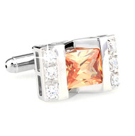 Large Princess Cut Melon-Colored Crystal Cufflinks (V-CF-C64308O-S)