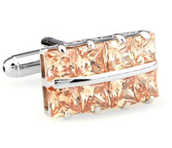 Square Cut Champagne Color Crystal Cufflinks (V-CF-C64355CO-S)