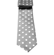 Antonio Ricci Necktie w/ Matching Pocket Square - Silver with White Dots