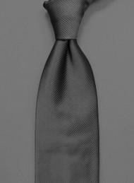 Antonio Ricci Solid Color Tonal Rib Weave Tie - Charcoal