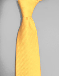 Antonio Ricci Solid Color Tonal Rib Weave Tie - Yellow-Gold