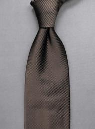 Antonio Ricci Solid Color Tonal Rib Weave Tie - Brown