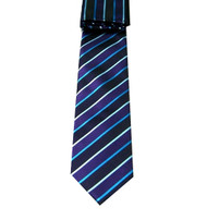 Antonio Ricci Necktie w/ Matching Pocket Square - Purple and Navy Stripes
