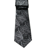 Antonio Ricci Necktie w/ Matching Pocket Square - Black Paisleys
