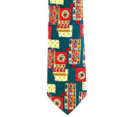 Antonio Ricci 100% Printed Silk Tie - Paisley Collage in Teal