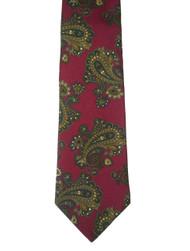 100% Printed Silk Tie - Paisley Design in Dark Red