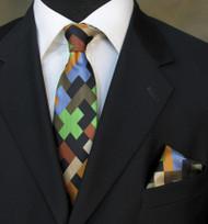 Antonio Ricci Necktie w/ Matching Pocket Square - Multi-Greens Geometric Design