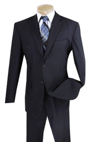 Lucci 2-Button with Flat Front Slacks Budget Suit - Navy